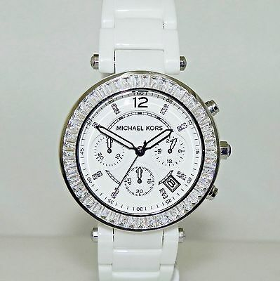 0Michael Kors Women's MK5848 Chronograph Parker White Glitz Ceramic 39 mm  Watch