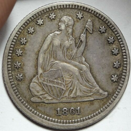 1861 Seated Liberty Quarter Dollar Almost Uncirculated Civil War Date 25c Coin