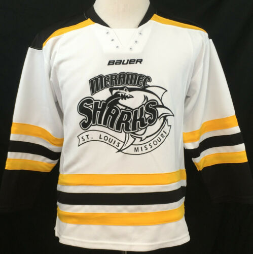 Meramec Sharks St Louis Missouri Bauer Hockey Jersey #5 Youth Large  White