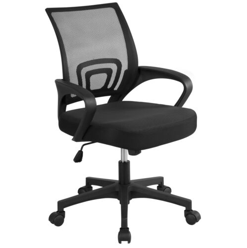 Black Executive Ergonomic Mesh Computer Office Desk Task Mid