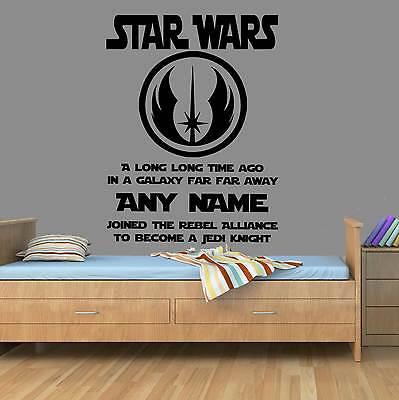 Personalised Star Wars Jedi Wall Art Boy Bedroom Darth Vader