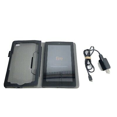 "Amazon Kindle Fire 7 7"" 8GB 7th Gen Black Tablet E-Reader SR043KL w/ Folio Case"