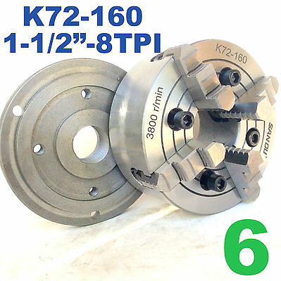 1 Pc Lathe Chuck 6 4 Jaw Independent Wback Plate 1-12-8tpi K72-160 Sct888
