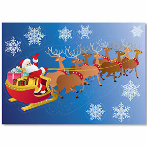 Santa-Sleigh-Vinyl-Window-Sticker-36-Snowflake-Clings-Christmas-Decorations
