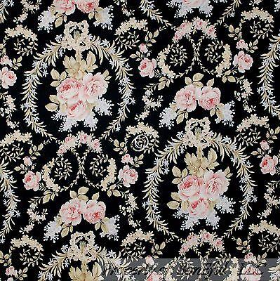BonEful Fabric FQ Cotton Quilt VTG Dark Pink Cream Flower Rose Bud Damask Lace