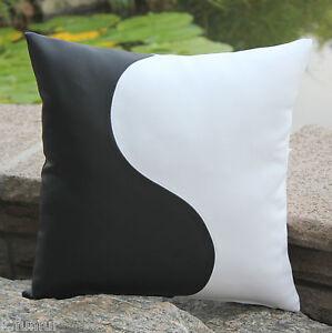 oreiller en faux cuir 40x40 cm noir blanc feng shui housse. Black Bedroom Furniture Sets. Home Design Ideas