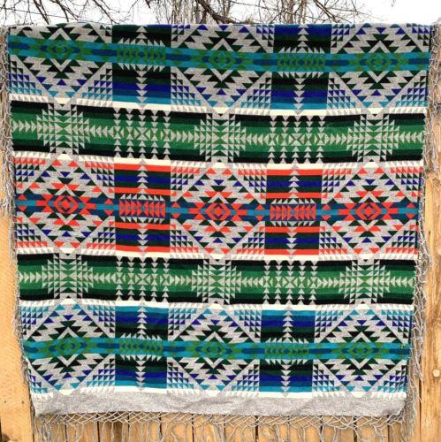 "Vintage Beaver State PENDLETON Wool Blanket 70"" x 66"" Navajo Aztec Design"