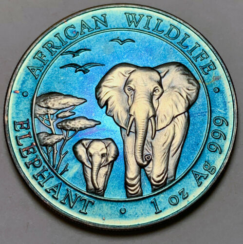 2015 SOMALIA AFRICAN WILDLIFE 100 SHILLINGS .999 SILVER PROOF ART TONED UNC (DR)