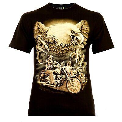 Ride Eagle (Rock Eagle Herren T-Shirt Schwarz Live to Ride Rocker Style Biker Designe Adler)