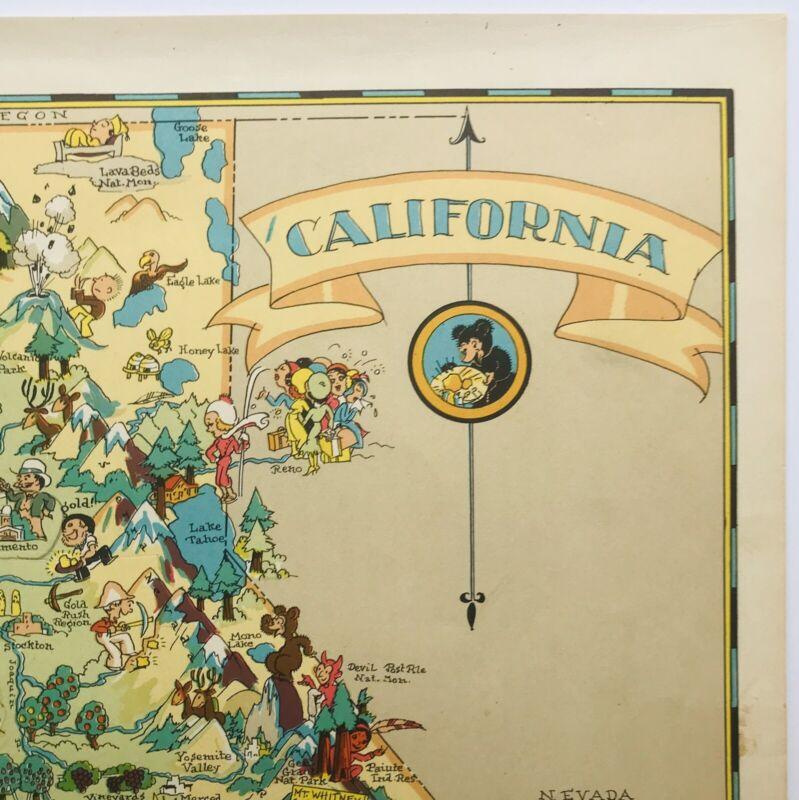 Ruth Taylor ORIGINAL Cartoon Map of CALIFORNIA 1935 6 Color Lithograph VG+ Cond