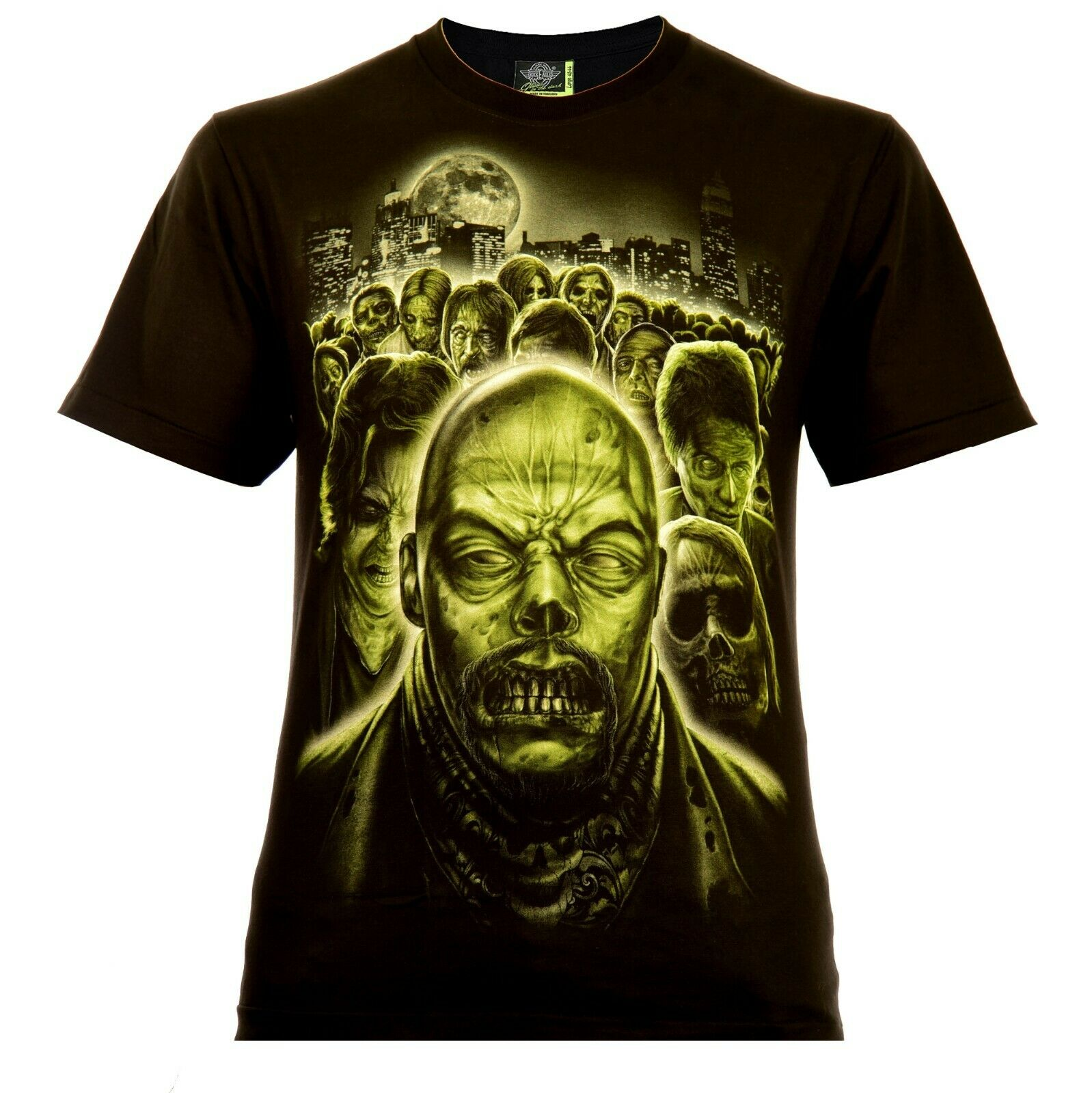 Rock Eagle Herren T-Shirt Schwarz Zombie Invasion Glow in the Dark Totenkopf