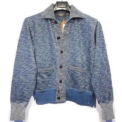 RRL Double RL Ralph Lauren Mens Cotton Cardigan Sweater Jacket Blue (MSRP $395)