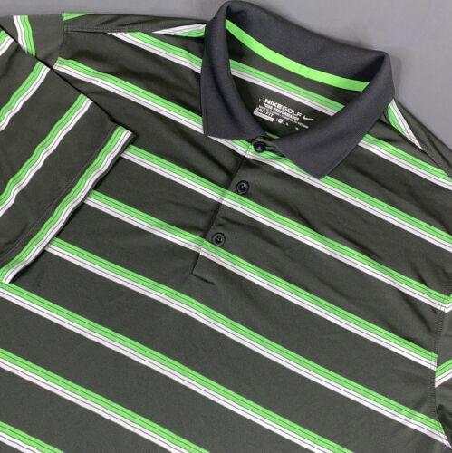 Nike Golf Tour Performance Dri Fit Polo Shirt Mens XL Green Black Striped Swoosh - $19.97