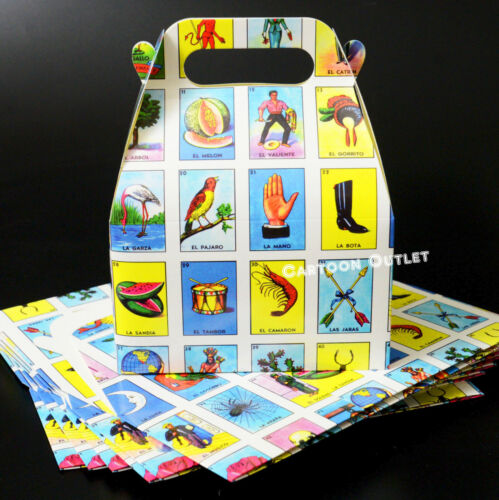 12 Mexican Loteria Party Favors Candy Box Bag Filler Gifts Recuerdos Decorations