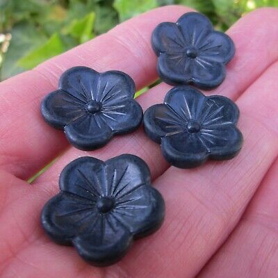 6 blue Red Blossom 18 mm country House old Glass buttons buttons