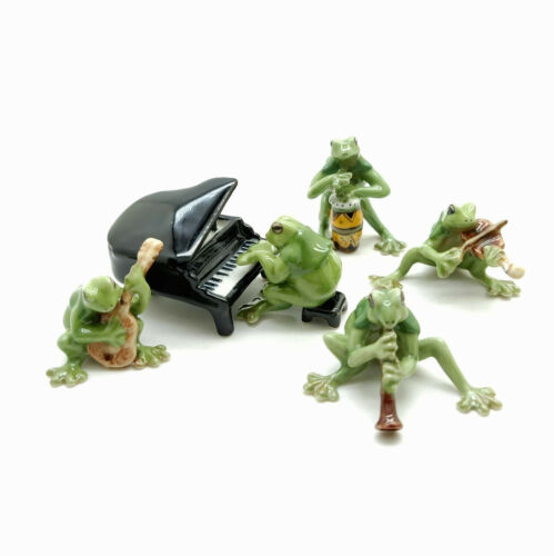 5 Green Frog Ceramic Figurine Animal Playing Musical Statue - FG002