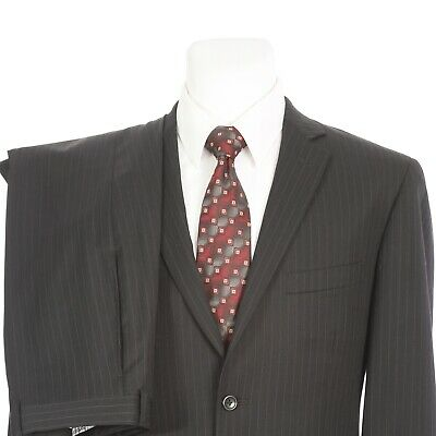 Pronto Uomo Couture Italian Three Button Dual Vent Suit 44R 38x27 Brown Stripe
