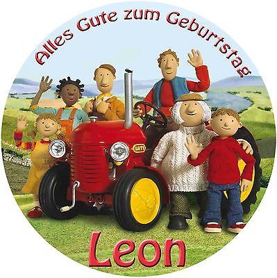 20 und 28cm runder Tortenaufleger kleiner roter Traktor Fototorte Geburtstag