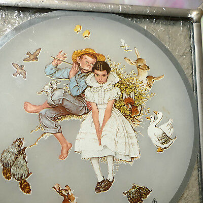 """Christmas Ornament Glass Stained NORMAN ROCKWELL Boy Girl Animals Vtg Square 5"""""""