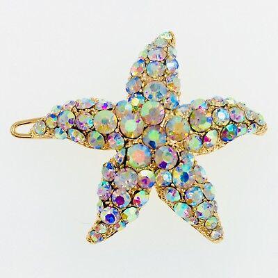 Hair Clip use Swarovski Crystal Hairpin Starfish Seastar Mermaid Gold AB Elegant