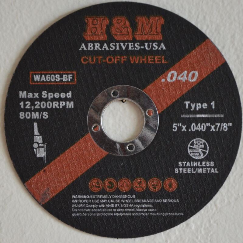 "25pk 5"" x .040"" x 7/8"" Cutting Wheel Stainless Steel & Metal Cut-off Disc Type 1"