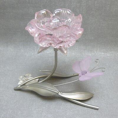 Rosa Vintage Tee (Formano  Teelichthalter Blüte rosa  Metall liegend edel modern Vintage Geschenk )