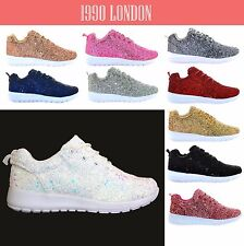 Ladies Running Womens Trainers Shimmer Glitter Fitness Gym Sports Lace Up Shoe