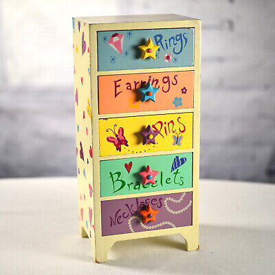 Little Girls Jewelry Box Wooden Hand Painted Multi Colored 5 Drawers Butterfly