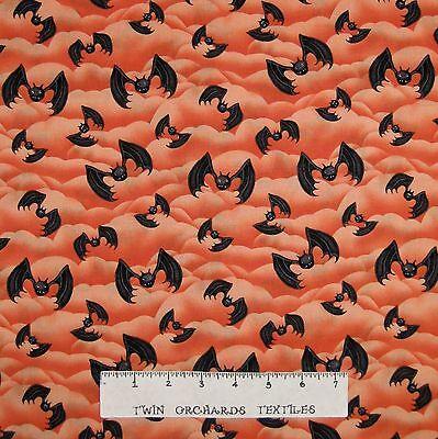 Halloween Fabric - Happy Haunting Bats on Orange Clouds - Henry Glass YARD - Happy Cloud Halloween