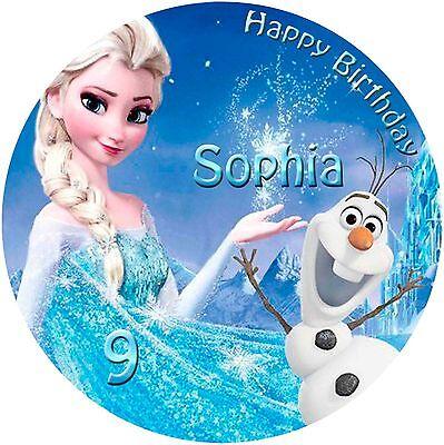 Tortenaufleger Disney Frozen Eiskönigin Elsa und Olaf Tortenbild Ihr Text (111)