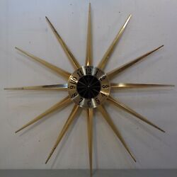 Large 30.5 VTG Mid Century Modern Elgin Starburst Sunburst Wall Clock 1960's