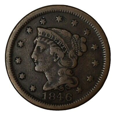 1846 1C Braided Hair Large Cent VF+ Uncertified #