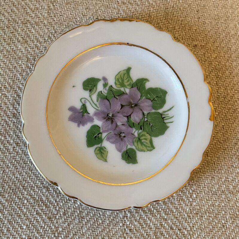 Old Vintage Purple Violets Gold Butter Pat Dish Miniature Plate
