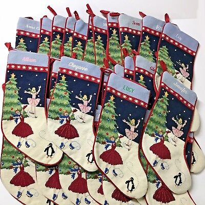 LANDS END NEW Ballerina Ice Skaters Wool Keepsake Christmas Stocking Monogrammed - Monogrammed Stocking
