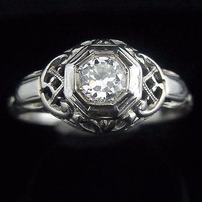 Art Deco Old European Cut Diamond 18k White Gold Ring Engagement Promise Vintage