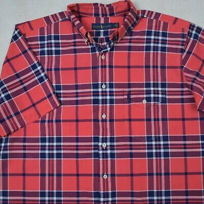 2 Pocket Button (Ralph Lauren Shirt Oxford Plaid Chest Pocket Button-Front 2XB 2XLT 3XB 3XLT)