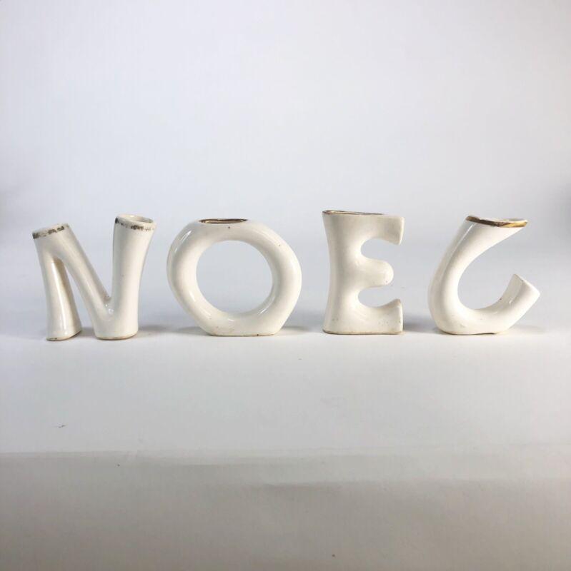 Vintage ceramic NOEL candle holders