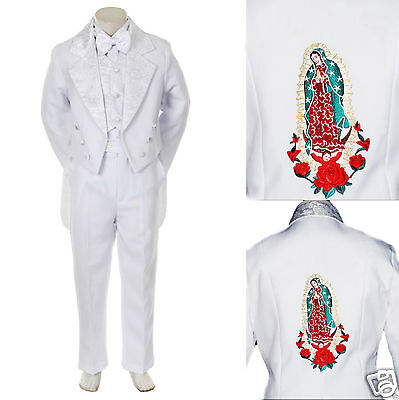 Kid Child Teens Boy Baptism First Communion Church Formal Tuxedo Suit White 5-20 - First Communion Suit Boy