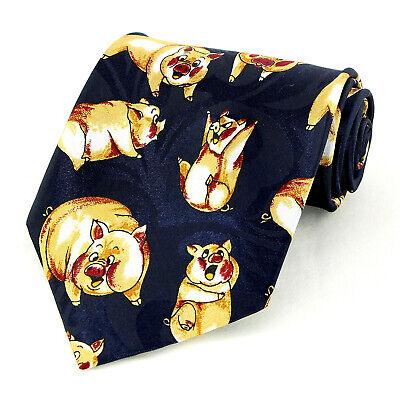 Laughing Piggies Men's Necktie Pork Pig Farm Animal Funny Gift Blue Neck Tie  Funny Necktie Tie