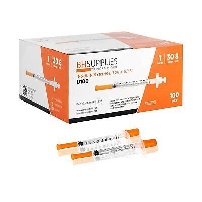 Bh Supplies Insulin Syringes U-100 30g 1mlcc 516 100 Pcs Premium Quality