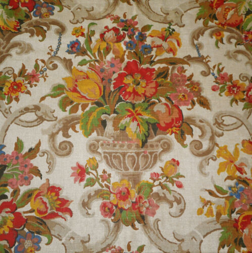 Antique English Floral Urn Linen Fabric ~ Yellow Green Red Blue Apricot Brown