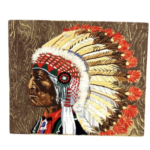 Vintage Native American Indian Chief Finished Crewel Embroidery Art No Frame