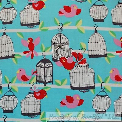 BonEful FABRIC Cotton Quilt Aqua Blue White Red Pink Bird Cage Stripe Girl SCRAP