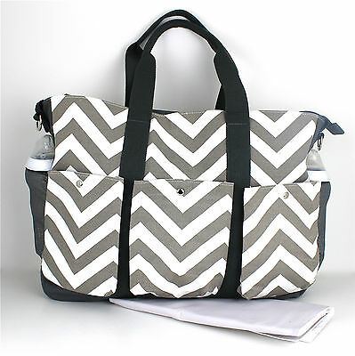 Nappy Diaper Bag Large Double 3 pocket Chevron Changing Bag & FREE Mat