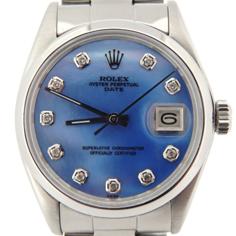 Mens Rolex Date Stainless Steel Watch Oyster Band Blue Mop Diamond Dial 1500