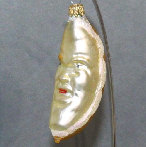 ANTHROPOMORPHIC Christmas Ornament Glass Face Fruit Banana Glitter Snow