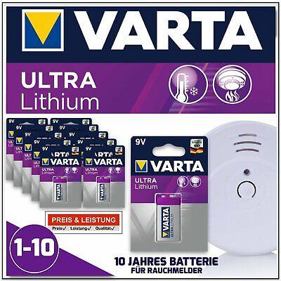 Varta 9V Rauchmelder Batterien - Ultra Lithium E-Block für Rauchwarnmelder