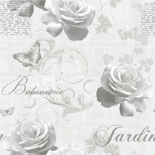 Muriva Botanical Garden Wallpaper 127501 Script Rose Butterfly Grey Silver