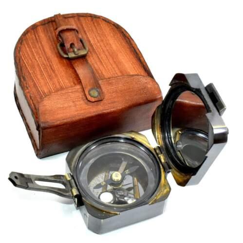 Antique Nautical Solid Brass Maritime Brunton Campass Handmade Leather Case Gift
