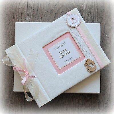 Luxury Personalised BABY GIRL Photo Album/ Handmade Boxed/ Stunning gift ()